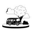 silhouette school bus in the city with clouds and vector image