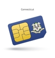 State of Connecticut phone sim card with flag vector image