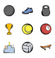 sport training icons set cartoon style vector image