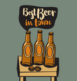 banner with a beer bottles on the table vector image vector image