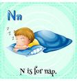Flashcard letter N is for nap vector image