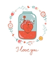 Concept love card with heart in jar and floral vector image