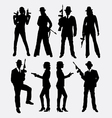 Gangster with gun weapon silhouette vector image