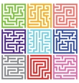 Nine colorful isolated maze pack vector image vector image