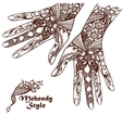 Decorative Hands With Henna Tattoos vector image