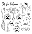 Halloween design elements Hand-drawn vector image