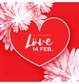 Heart Flower paper Happy Valentine s day vector image