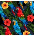 Macaw and hibiscus seamless vector image