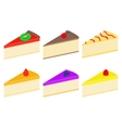 set of colorful cheesecakes vector image