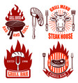 set of grill emblems and labels steakhouse vector image