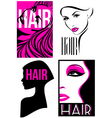 Womans hairstyle design Set of designs vector image vector image
