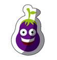 purple kawaii happy eggplant icon vector image