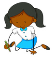 Little girl writing on the ground vector image vector image