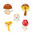 a set of mushroom characters vector image