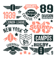 Badges set of the college rugby team vector image