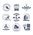 Car Wash Black Emblems Icons Set vector image