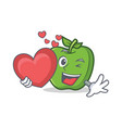 green apple character cartoon with heart vector image