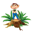 A monkey standing above the wood vector image vector image