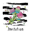 hand drawn hipster floral invitation card cover vector image