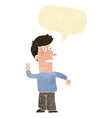 cartoon man making peace sign with speech bubble vector image
