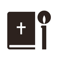 Bible and candle icon vector image