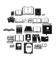 book icons set simple style vector image
