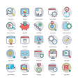digital and internet marketing flat icons set vector image