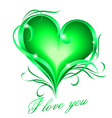 Green heart with i love you text vector image