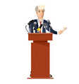 public speaker with tv microphones vector image
