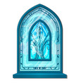 window of ice in old style with ornament vector image