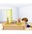A boy looking at his toys vector image vector image