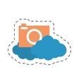 Cloud photo camera media social cut line vector image