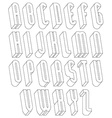 Black and white 3d font made with thin lines vector image vector image