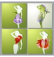 set of colorful cards with girls vector image