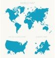 Set World American Europe map vector image