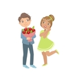 Boy Giving Flower Bouquet To A Girl vector image