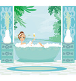 girl relaxes in the bath in a tropical spa vector image