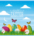 happy easter card bright eggs butterfly field sky vector image
