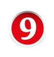 Number nine red label vector image