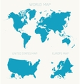Set World American Europe map vector image
