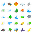 unity with nature icons set isometric style vector image