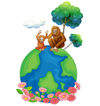 A small and a big orangutan sitting above the vector image