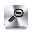 Square metal button perspektive - zoom out icon vector image