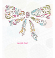 doodles background with bow made of floral vector image vector image