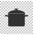Cooking pan sign Dark gray icon on transparent vector image