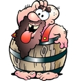 Fat man in barrel vector image vector image