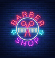 barber shop logo neon sign logo design elements vector image
