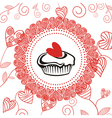 Cake romantic pattern background vector image
