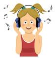 teenager girl listening to music in headphones vector image