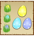 Three colorful aggs in the green grass vector image